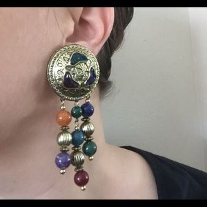 Huge Vintage 80s/90s Western Boho Dangle Earrings